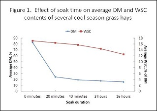Effect of soak time on average DM and WSC contents of several cool season grass hays