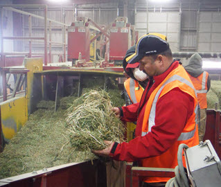 Anderson Hay employee performs quality control check as new product arrives at plant