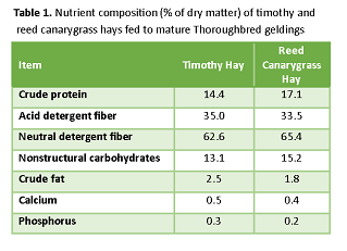 Nutrient composition of timothy and reed canarygrass hays fed to mature Thourughbred geldings